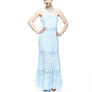 Sky Blue Bohemian Maxi Slip Dress